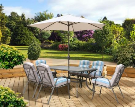 Pagoda Roma Dining Set With Parasol - 6 Seat